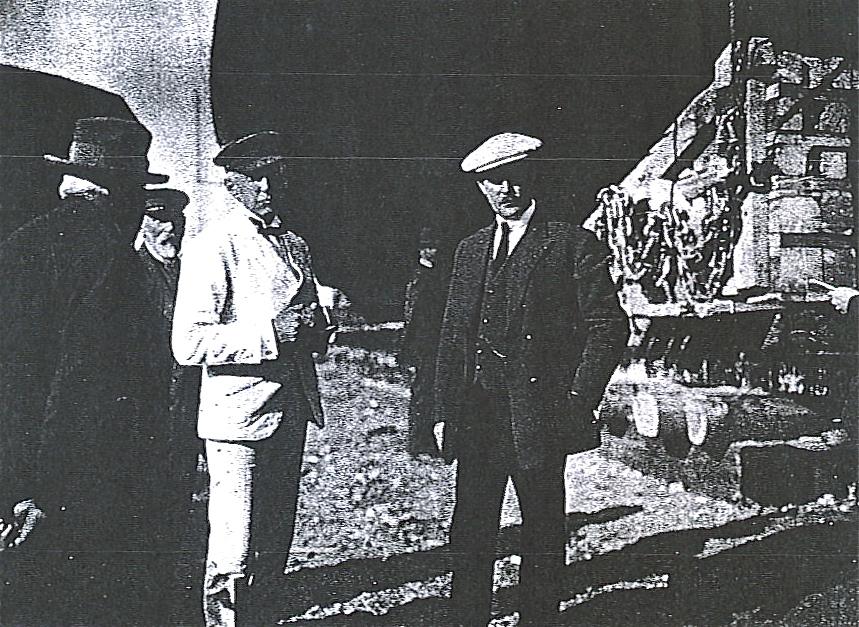 Roald Amundsen and Christian Jensen in the boatyard of Vollen, Oslofjorden.